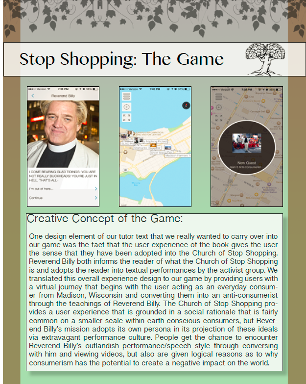 Student Game: Reverend Billy's Stop Shopping